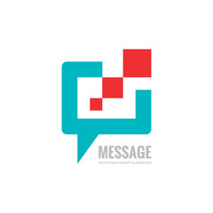 Message - vector logo template concept illustration. Speech bubble creative sign. Chat icon. Design element.