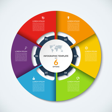 Circle infographic template. Vector layout with 6 options. Can be used for cycle diagram, round chart, graph, annual report, presentation, web design, step by step infographics