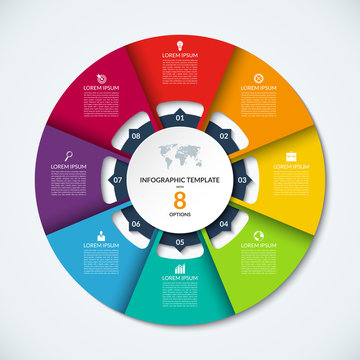 Circle infographic template. Vector layout with 8 options. Can be used for cycle diagram, round chart, graph, annual report, presentation, web design, step by step infographics