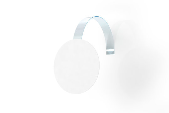 Blank white wobbler hang on wall mock up, clipping path, 3d rendering. Space round paper mockup on plastic transparent strip. Clear price sticker circle shape. Pricing tag label template isolated.