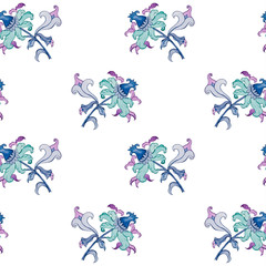 watercolor seamless pattern with decorative flowers. beautiful print