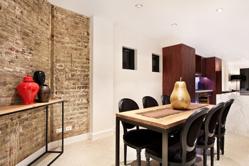 Modern gourmet kitchen interior. spacious great room