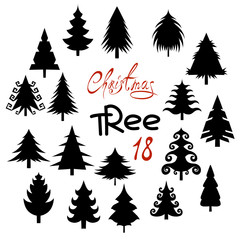 Set of eighteen silhouette Christmas tree isolated on white background. Fir trees.