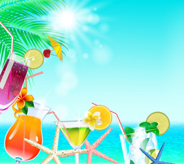 the seaside poster with a sea, palm leaves, sunrays, cocktail an