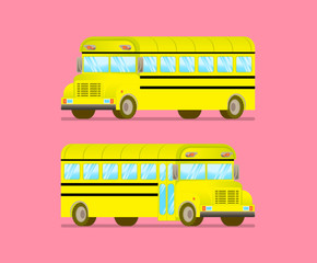 the flat style a school bus to right and left sides on pink back