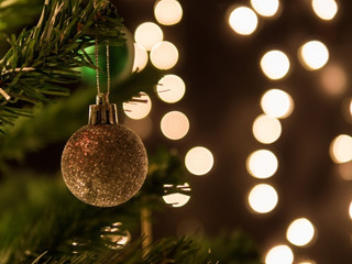 Christmas Background With Ball Lights On A