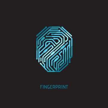 Digital fingerprint. Element on black background.