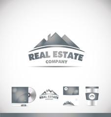 Real estate silver grey logo icon design