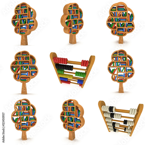 3d Tree Of Knowledge Bookshelf On White Set