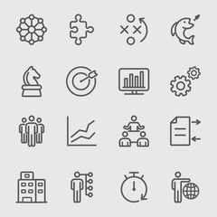 Business and Strategy circles line icon