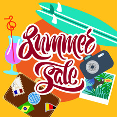 stylized summer sale poster with a calligraphy text,  cocktail,