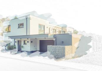 Entwurf eines modernen Flachdach-Hauses