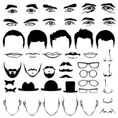 Man face eyes and noses, mustaches with glasses, hats or lips, hairstyle