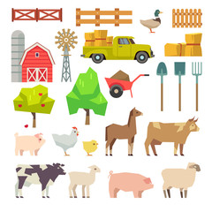 Cartoon farm elements, animals, building, tools, trees, agricultural machinery