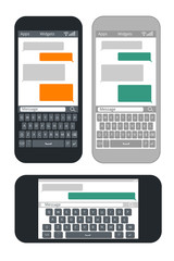 Smartphone with blank text message bubbles and keyboard vector template