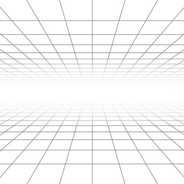 Ceiling and floor perspective grid vector lines, architecture wireframe