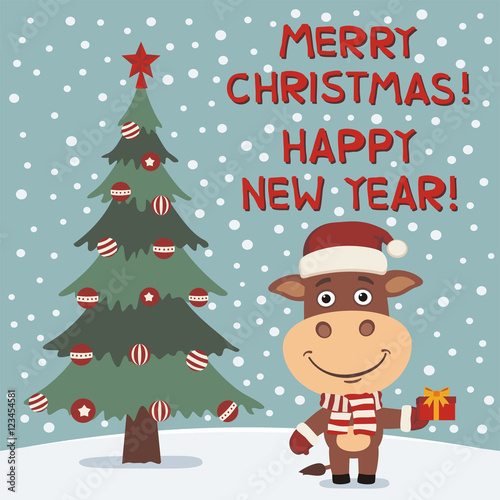 Merry Christmas and Happy New year! Funny cow with gift near ...