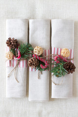 Serviettes and decorations for Christmas