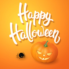 Halloween greeting card with pumpkin, angry spider and 3d brush lettering on orange background. Decoration for poster, banner, flyer design. Vector illustration