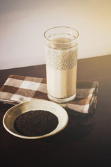 Sweet basil seeds with milk.mucilage,