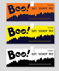 Set of Halloween banner: title Boo and black monster with scary face looks out of the darkness. Vector illustration in cartoon style. Concept design poster, flyer or ticket on holiday party.