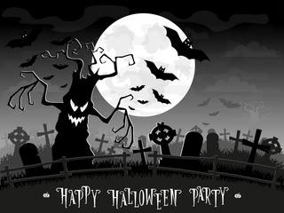 Halloween background. Scary monsters trees on old cemetery backdrop moon, bats and graves. Design for concept banner, poster, cards or invites on party. Cartoon style. Vector illustration
