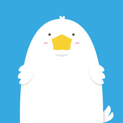 cute big fat white duck on blue background
