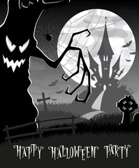 Halloween background. Monsters trees on old cemetery backdrop on scary cactle, moon, bats and graves. Design for banner, poster, flyer, cards or invites on party. Cartoon style. Vector illustration