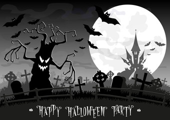 Halloween background. Monsters trees on old cemetery backdrop on scary castle, moon, bats and graves. Concept for banner, poster, flyer, cards or invites on party. Cartoon style. Vector illustration