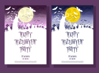 Set of Halloween background. Silhouette scary monsters trees on old cemetery backdrop moon, bats and graves. Design for concept banner, poster, flyer, cards or invites on party. Cartoon style. Vector