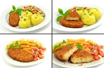 kotlet rybny z ziemniakami i frytkami
