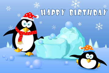 happy birthday card with penguin on snow