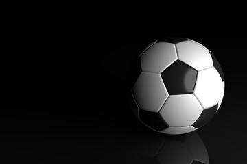 Soccer concept, Soccer ball on black background. 3D illustration