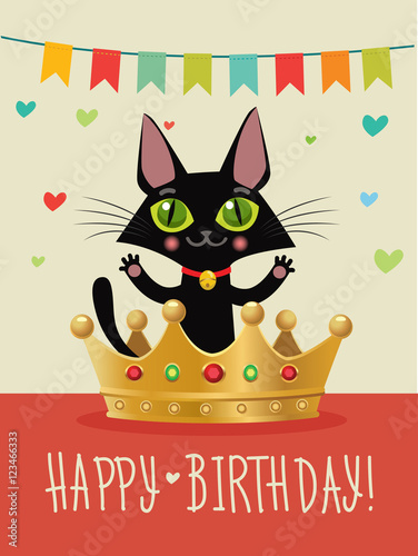 Happy Birthday To You Card With Funny Black Cat And Gold Crown