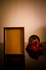 Wooden frame and flower