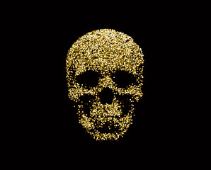 Vector golden sparkling human skull. Design element for Halloween.