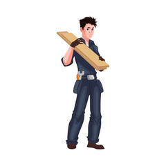 Full length portrait of young worker shouldering wooden boards, cartoon style vector illustration isolated on white background. Young worker or carpenter in blue uniform holding wooden boards