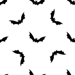 Black bats abstract seamless pattern on white background