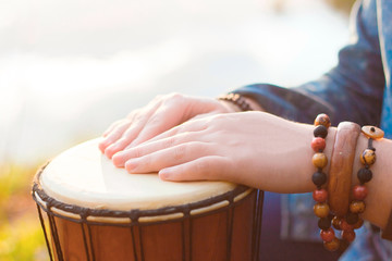 Playing the djembe