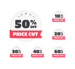 Price Cut % Off Labels