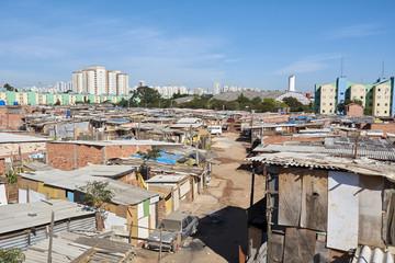 Shacks in the slum in Sao Paulo