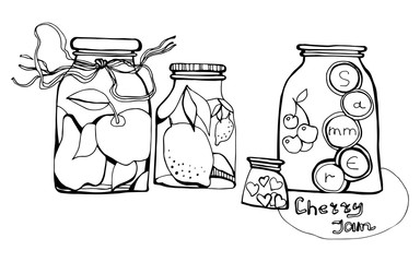 Set jams. Cherry jam. Vector illustration. Hand drawn jars for your design.