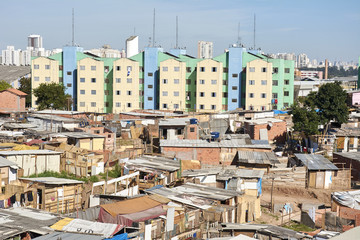 Slum and building popular in Sao Paulo. Illegal and fragile constructions near housing financed by the government for the poorest people.