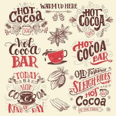 Hot cocoa hand lettering signboards set. Hot cocoa bar. Cocoa cup cartoon character. Hand drawn Christmas signs for cafe, bar and restaurant