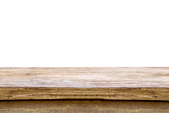 wooden table or mock up platform for interior decoration design or advertising decoration with wooden table texture background.