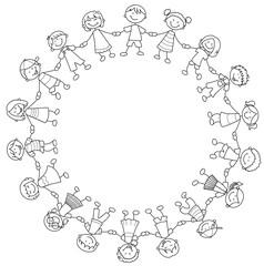 Ein Kreis glücklicher Kinder