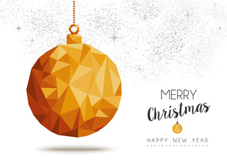 Gold Christmas and new year ornament in low poly