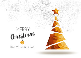 Gold Christmas and new year pine tree low poly art