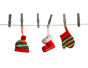 Hanging christmas decoration isolated on a white background