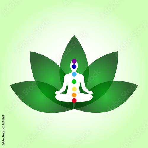 Lotus Flower Yoga Center Emblem Meditation Pose Relaxing Stock